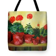 Geraniums In A Row-- Sold Tote Bag