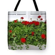 Geraniums On Window Tote Bag by Elena Elisseeva