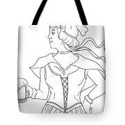 German Barmaid Serving Beer Drawing Tote Bag