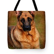 German Shepherd Dog Portrait  Tote Bag by Angie Tirado