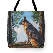 German Shepherd Lookout Tote Bag by Lee Ann Shepard