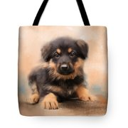 German Shepherd Puppy Portrait Tote Bag