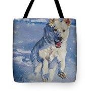 German Shepherd White In Snow Tote Bag by Lee Ann Shepard