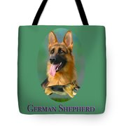 German Shepherd With Name Logo Tote Bag