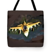 Ghostly Fighter Jet In The Sky Above The Earth Tote Bag