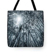 Giant Bamboo In Forest With Sunflare, Black And White Tote Bag