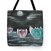 Giant Lilies Upon Misty Waters Tote Bag