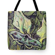 Giant Peacock Moth On Arum Tote Bag