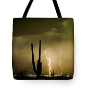 Giant Saguaro Southwest Lightning  Peace Out  Tote Bag