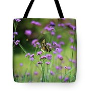 Giant Swallowtail Butterfly In Purple Field Tote Bag