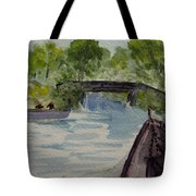 Giethoorn Boat Approaches Bridge Tote Bag
