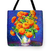 Gift Of Gold, Orange Flowers Tote Bag