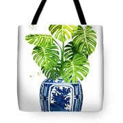 Ginger Jar Vase 1 With Monstera Tote Bag