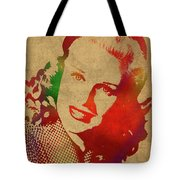 Ginger Rogers Watercolor Portrait Tote Bag