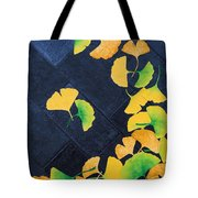 Ginkgo Leaves On Pavement Tote Bag