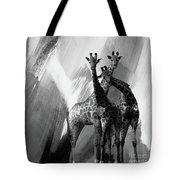 Giraffe Abstract Art Black And White Tote Bag