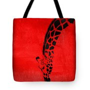 Giraffe Animal Decorative Red Wall Poster 3 - By  Diana Van Tote Bag