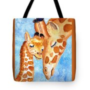 Giraffe Baby And Mother Tote Bag