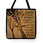 Giraffe Bible Verse Tote Bag