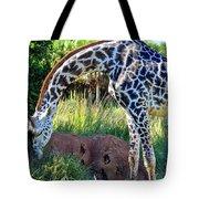 Giraffe Feasting Tote Bag