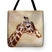 Giraffe Portrait With Texture Tote Bag