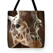 Giraffe Taking A Peek Tote Bag