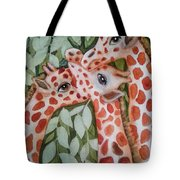 Giraffe Trio By Christine Lites Tote Bag by Allen Sheffield