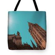 La Giralda Bell Tower Brilliantly Lit In Teal And Orange Tote Bag