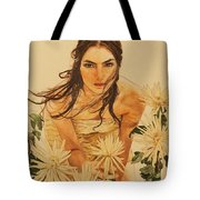 Girl Among The Flowers Tote Bag