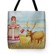 Girl And Deer Tote Bag