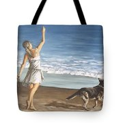 Girl And Dog Tote Bag