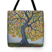 Girl And Leafs Tote Bag