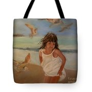 Girl And The Seagulls Tote Bag