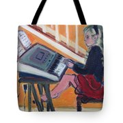 Girl At Keyboard Tote Bag