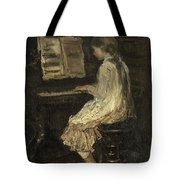 Girl At The Piano Tote Bag