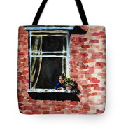Girl At Window Tote Bag