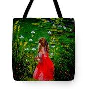 Girl By Lily Pond Tote Bag
