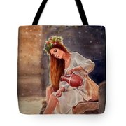 Girl By Water Spring Tote Bag