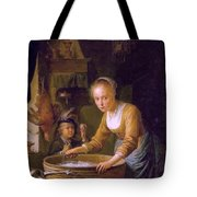 Girl Chopping Onions Tote Bag