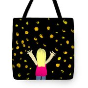 Girl Dancing With Fireflies Tote Bag