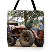 Girl Driving A Tractor Tote Bag