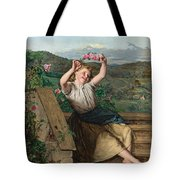 Girl Holding Up A Wreath Of Roses Tote Bag