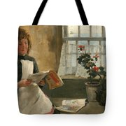 Girl In A Cottage Window Tote Bag