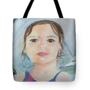 Girl In A Hat Portrait Tote Bag