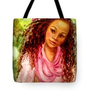 Girl In A Pink Dress Tote Bag