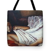 Girl In A Red Chair Tote Bag