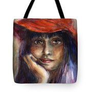 Girl In A Red Hat Portrait Tote Bag