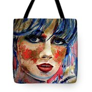 Girl In Blue And Gold Tote Bag