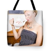 Girl In Cafe Serving Hot Coffee With Heart Teapot Tote Bag