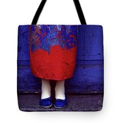 Girl In Colorful Flower Dress Tote Bag